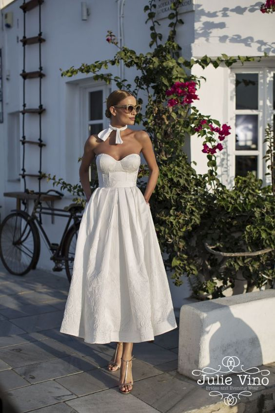 bride tea length dress