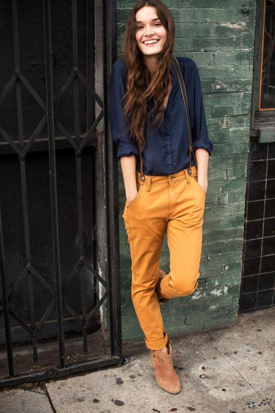 bright color suspender pants