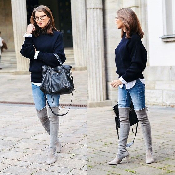 denim grey boots