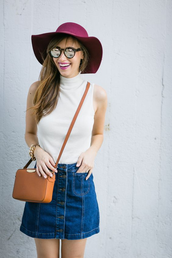 wear it with denim mini skirt