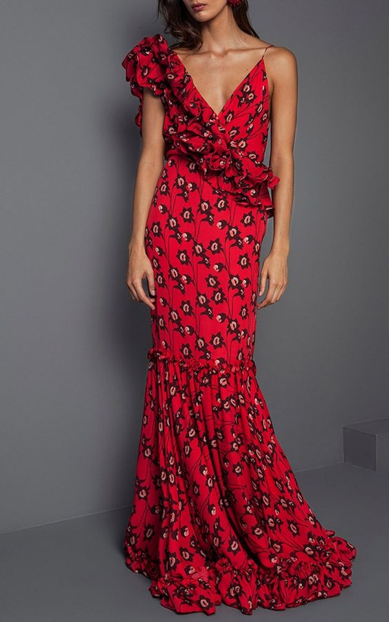 floral ruffle maxi dress red