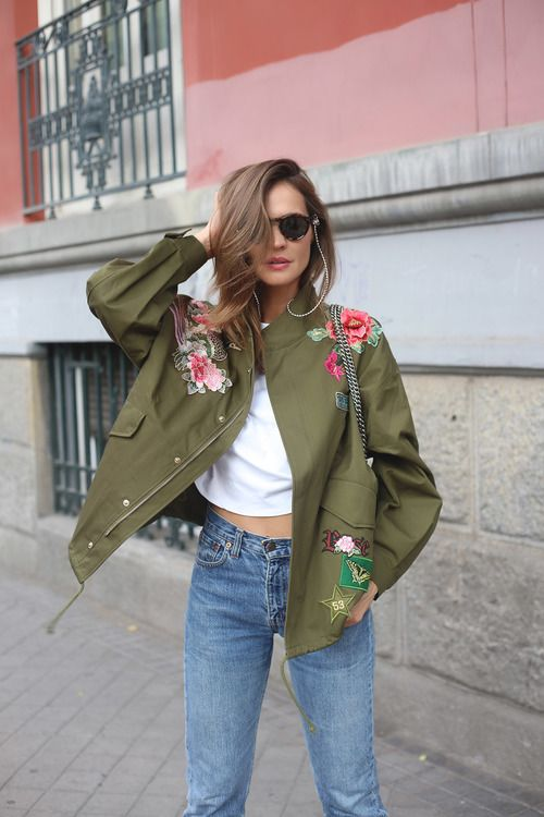 green parka embroidered