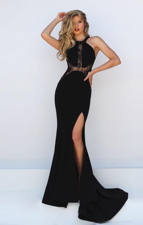black halter dress maxi