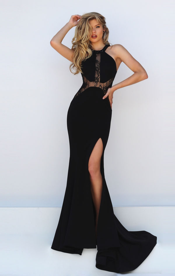 black halter dress maxi