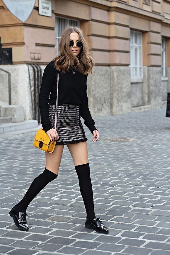 high socks mini skirt
