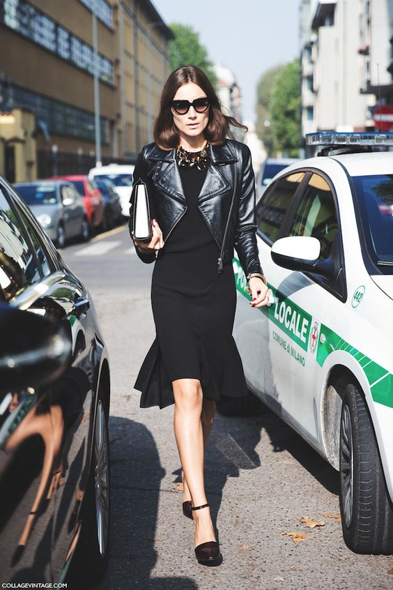 cropped leather jacket black dress