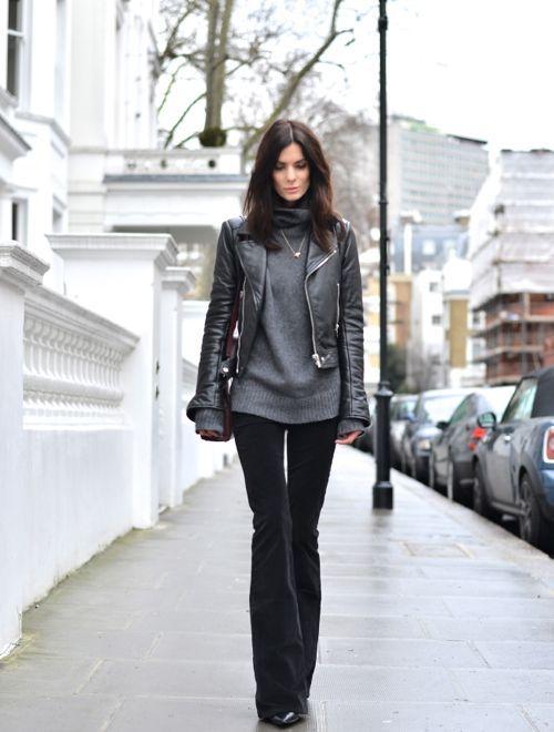 cropped leather jacket turtleneck