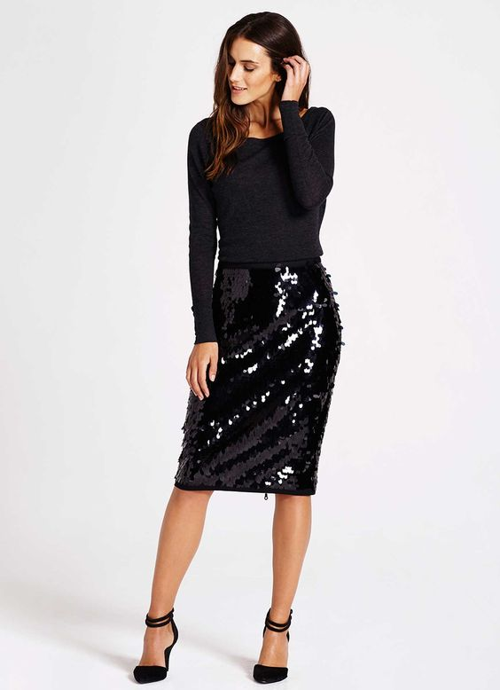 pencil sequin skirt