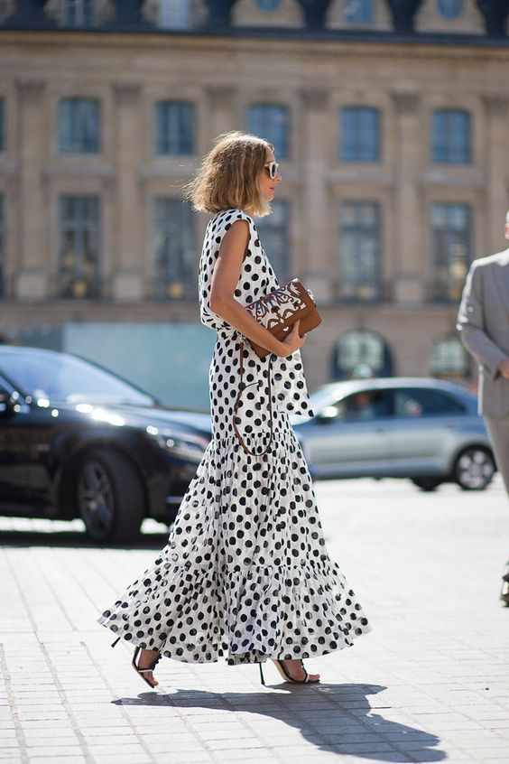polka dot ruffle maxi dress