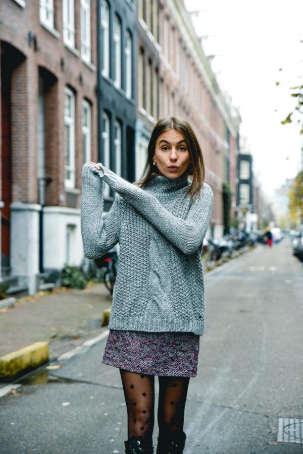 tweed skirt polka dots