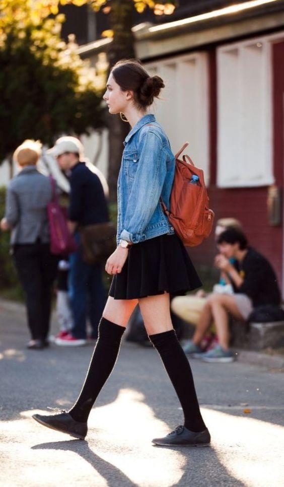 high socks skater skirt