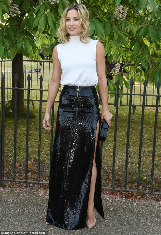 black sequin skirt slit