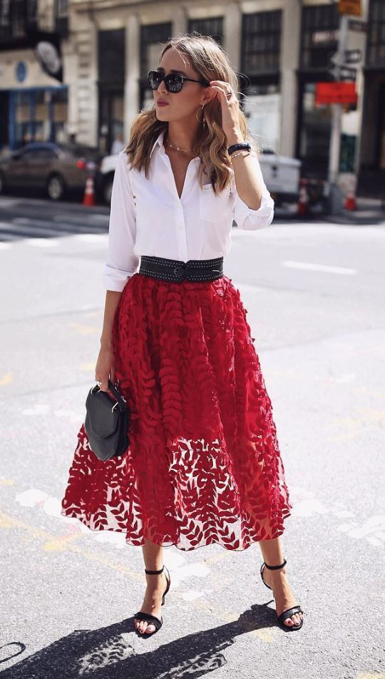 strawberry red tulle skirt