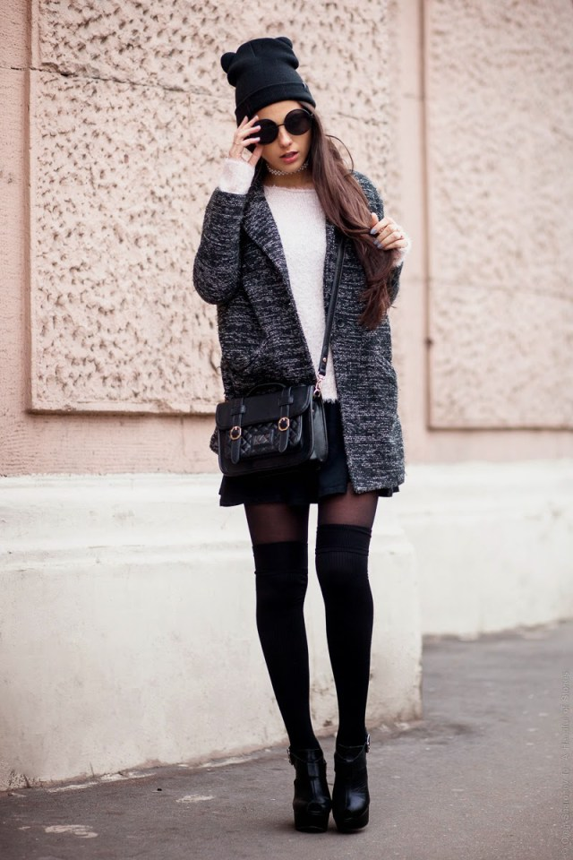 high socks tweed blazer