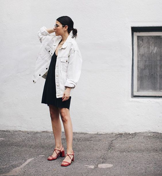 white denim jacket black dress