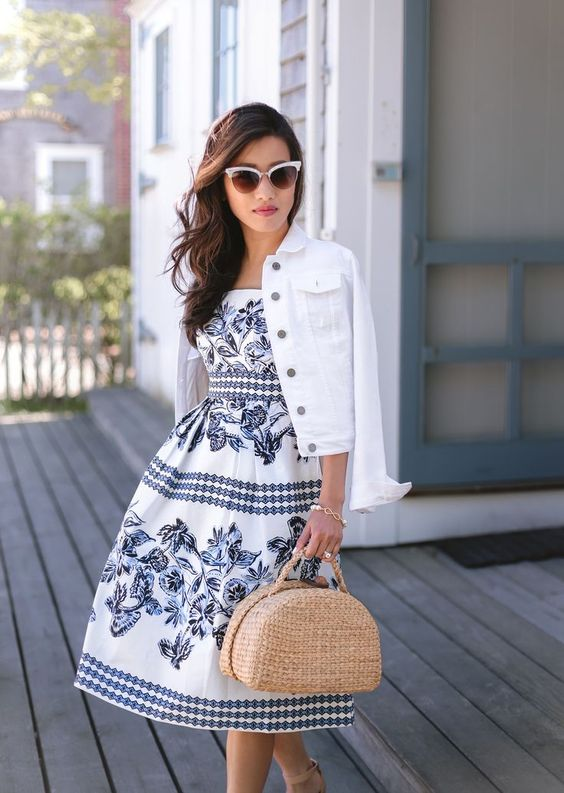 white denim jacket blue dress