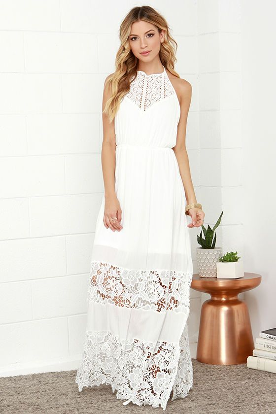 white lace halter dress maxi