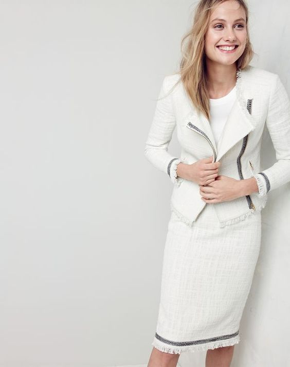 tweed skirt white suit