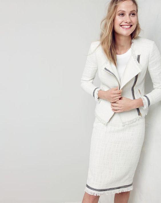tweed skirt white suit