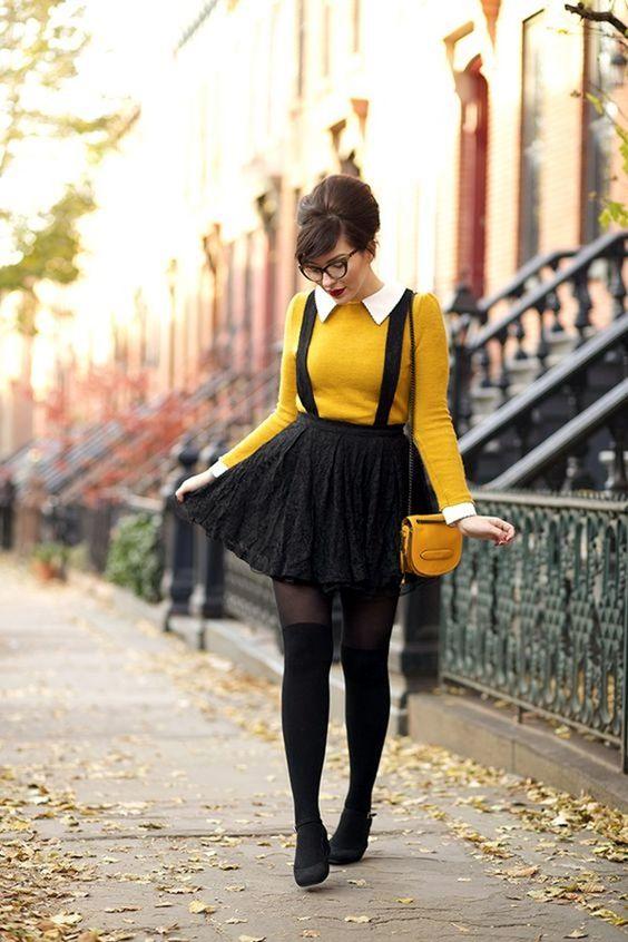 yellow suspender skirt