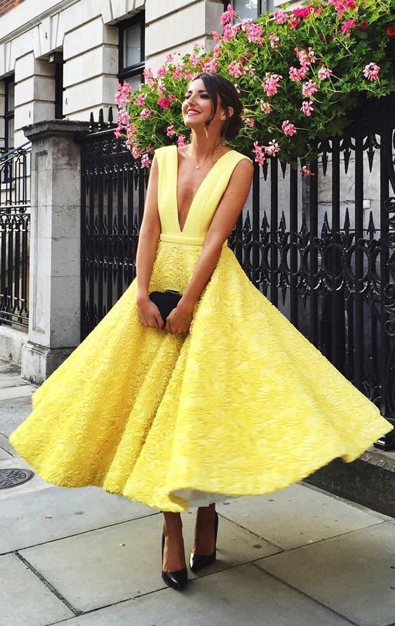 yellow tea length dress