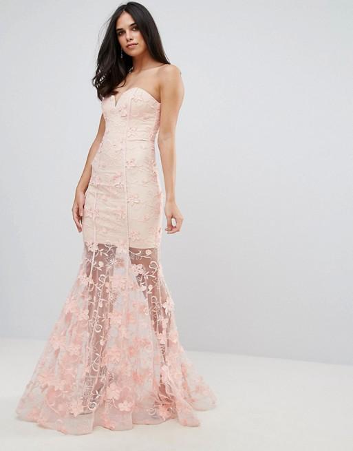 3d floral dress sheer mesh overlay