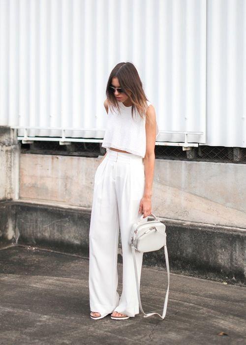 all white high waist wide leg pants