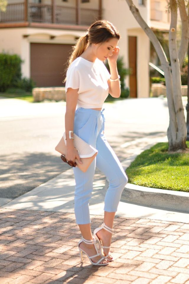 baby blue jogger pants white top