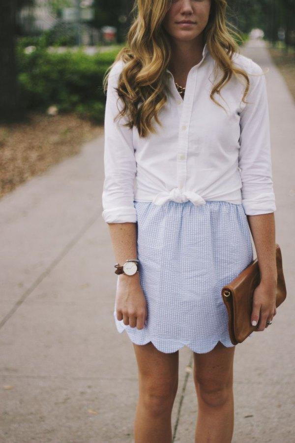 best scalloped hem mini skirt knotted white shirt