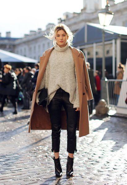 black booties jeans camel coat