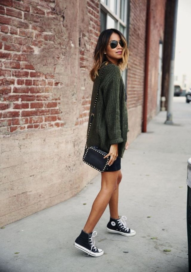 black high top converse mini skirt sweater