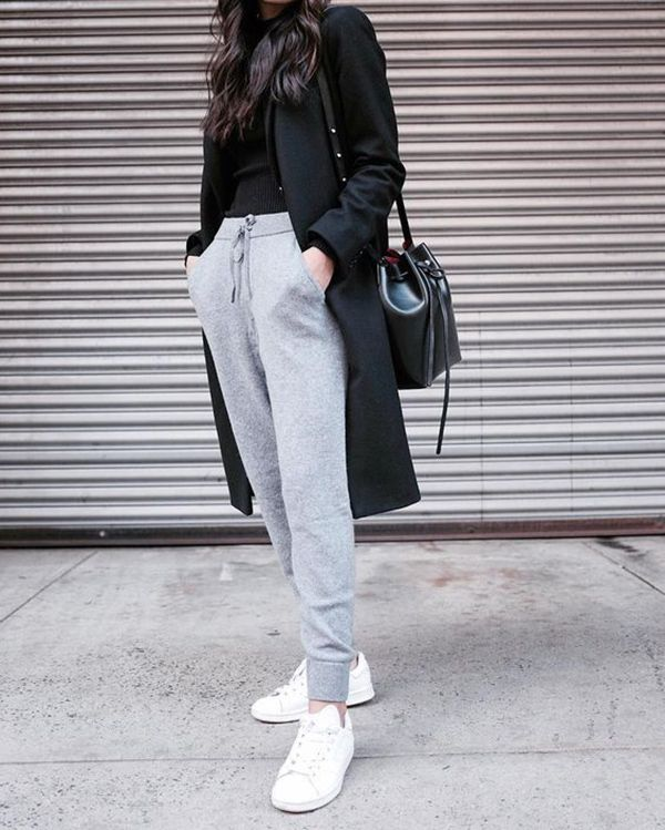 black long coat with jogger pants