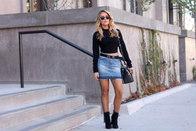 black long sleeve crop top denim skirt