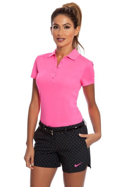 black polka dot golf shorts polo shirt pink