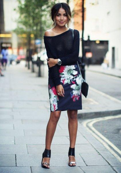 black slim fit off shoulder sweater floral skirt