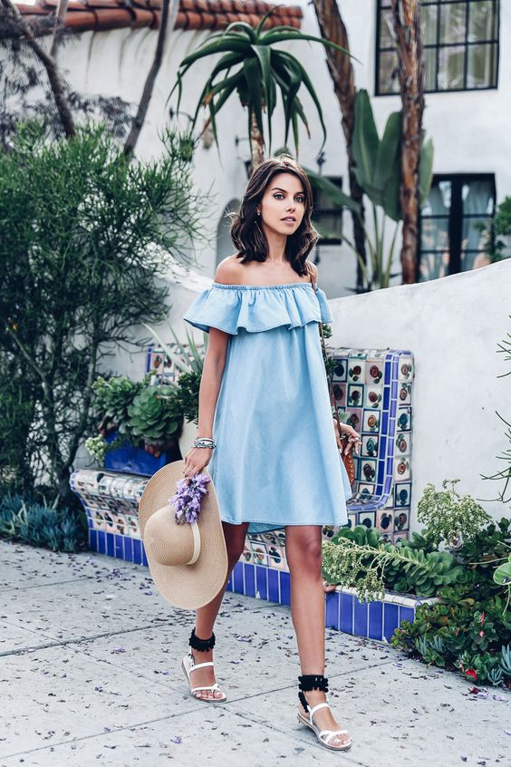blue a line off the shoulder dress