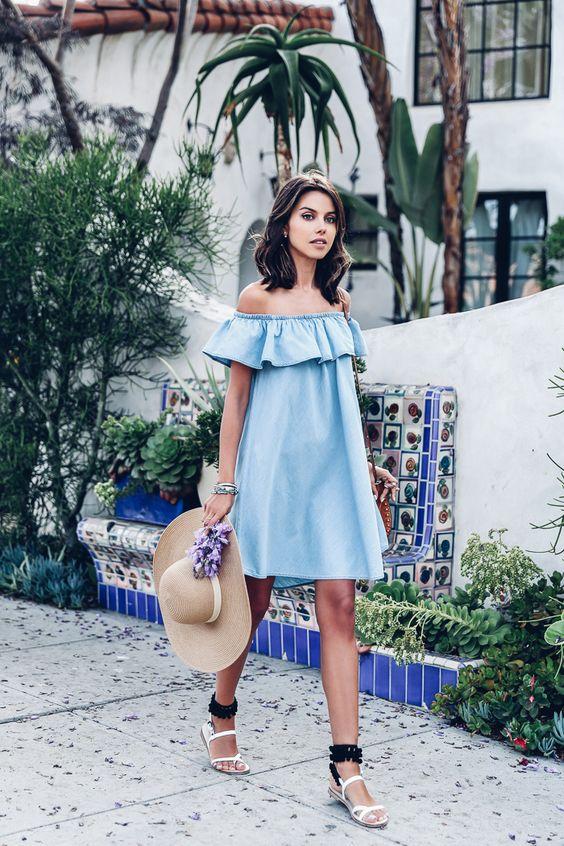 blue a line off the shoulder dress