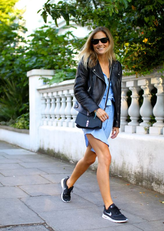 blue dress black sneakers