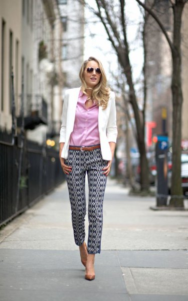 blue shirt floral print pants white blazer