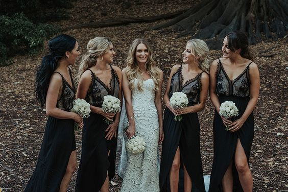 boho black bridesmaid dresses