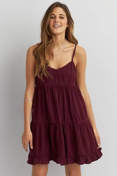 burgundy empire waist dress
