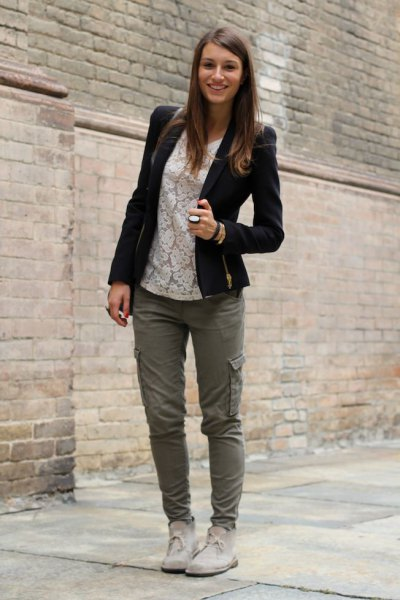 cargo pants white lace top chukka boots