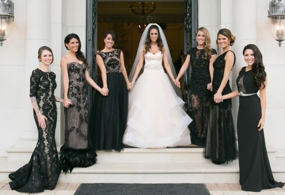 classic black bridesmaid dresses