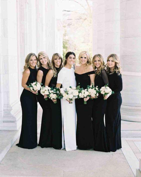 classic black bridesmaid dresses long
