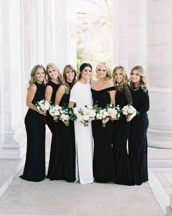 classic black bridesmaid dresses long
