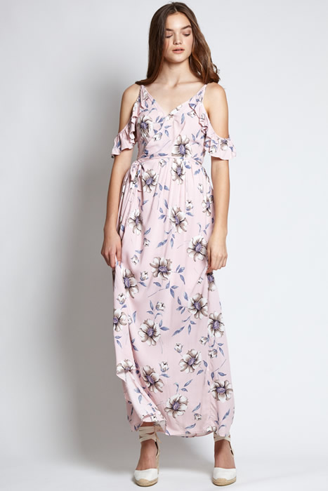 cold shoulder floral maxi dress outfit