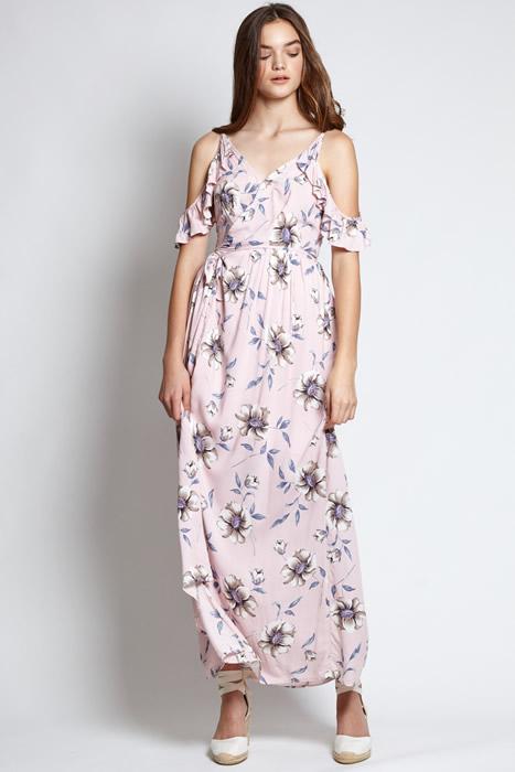 cold shoulder floral maxi dress outfit