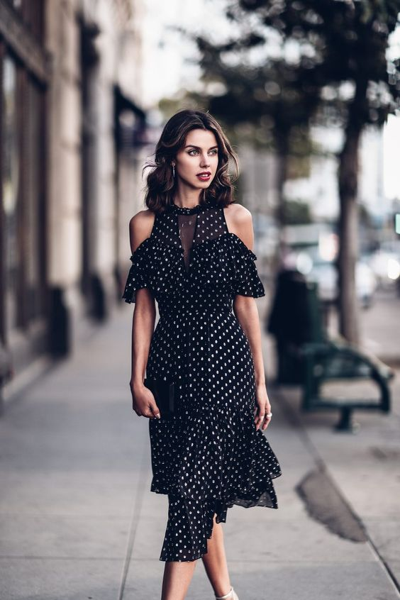 cold shoulders polka dot dress