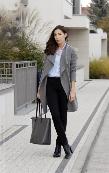 corduroy pants blue shirt grey trench coat