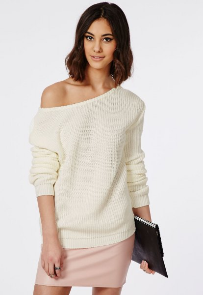 cream off the shoulder knit sweater mini skirt